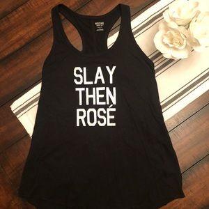 """Black """"Slay then Rosé"""" tank"""